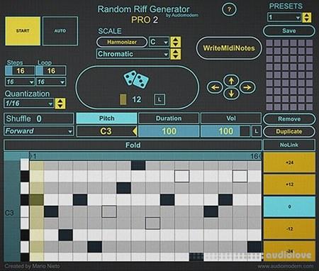 Audiomodern Random Riff Generator Pro 2 Max for Live