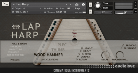 Cinematique Instruments Lap Harp KONTAKT