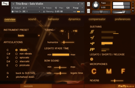 Fluffy Audio Trio Broz Solo Violin v2.0 KONTAKT